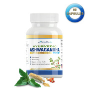 Ayurvedic Ashwagandha 1000 - Raw Ashwagandha root & KSM-66® standardised extract - All Natural, Extra Strength, 90 veg caps, Anxiety & Menopause Relief, Boosts Brain & Thyroid Function, & more!