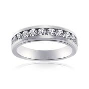 1.00 Carat Round Cut Diamond Wedding Band Unisex 14K White Gold