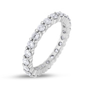 1.42 CT Natural Round Diamond Eternity Band in Solid 18k White Gold