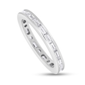 1.63 CT Natural Diamond Straight Baguettes Eternity Band in Solid 14k White Gold