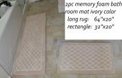 Diamond Ivory 2pc Set Memory Foam Bath Mat,long Rug 64