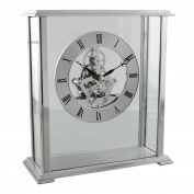 Quartz Skeleton Dial Silver Metal Carriage Mantel Shelf Table Clock 19x18cm