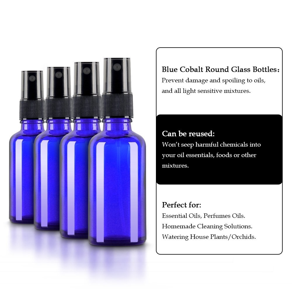 ce11808a014d 2oz (50ml) 4 pack Glass Bottles Round Bottles with Black Fine Mist Sprayer  with Dust Cap Cover - Refillable Empty Bottles - Perfect for Essential ...