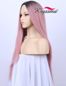 Kryssma Beauty New Series for Party- Dark Rooted Ombre Classic Pink Straight Wig for Ladies High Quality Synthetic Hair Wigs with Middle Parting 60cm