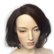 Namecute Short Brown Curly Wig Natural as Real Hair Replacement Wigs for Women Kanekalon Synthetic with Free Wig Cap