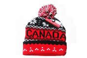 CANADA Red Black With White Snowflakes Toque Hat With Pom Pom .. Momento..New