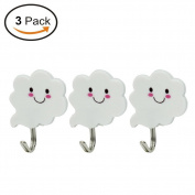 Vivian Cloud Self-Adhesive Wall Door Hook Hanger Sticky Holder Pack of 3PCS