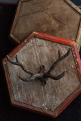 Vagabond Vintage, Pewter Antler Hook in Grey Black