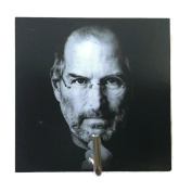 Agility Bathroom Wall Hanger Hat Bag Key Adhesive Wood Hook Vintage Steve Jobs's Photo