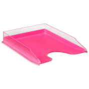 HomeCrate Modern Desk Organiser Stackable Letter Tray - Clear / Pink