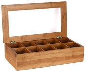 Estilo Bamboo Tea Storage Box 10 Equally Divided Compartments New