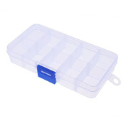 Multi--functional Adjustable Jewellery Bead Organiser Clear White Compartments False Nail Art Tips Storage Box Case
