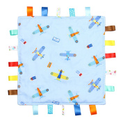 Blue with Planes Tag, Taggy Blanket - Plain Blue Textured Underside