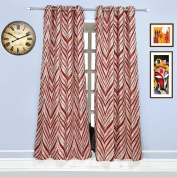 Style Homez Contemporary Jacquard Natural Jute | Dark Red Designer Eyelet Window Curtain Set of 2
