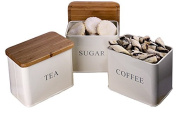 Kitchen Coffee Sugar Tea set of 3 Storage Canisters