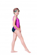 Topsport Girls Gymnastic/Dance Leotard with Matching Hair Tie- Purple Cactus