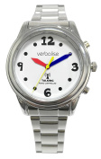 Verbalise Ladies Silver Radio Controlled Talking Watch White face multi coloured hands