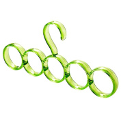 Scarf Hook - TOOGOO(R)High Quality Eco-friendly 5-hole Ring Rope Slots Holder Hook Scarf Wraps Shawl Storage Hanger green