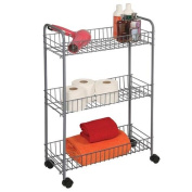 Richards 3 Tier Silver Wire Cart with Wheels(medium), Rolling Organiser