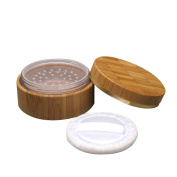 30g Empty Environmental Bamboo Powder Jars Makeup Comestic Case Box Container with Plastic Sifter Baby Powder Puff Kit