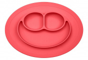RayMoon Kids Placemat & Divided Suction Plate In One with Spoon. No Mess Toddler & Baby Happy Face Feeding Set. Suction Bowl Sectional Baby Plate. From Baby Led Weaning