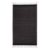 NOVICA Black and Grey Flat-Weave Zapotec Wool Area Rug (1.2m x 2m), 'Night Of Tradition'