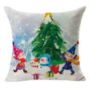 Emubody 2017 Christmas Decorative Cushion Pillow Cover Linen Square Throw Flax Pillow Case