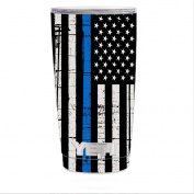 Skin Decal Vinyl Wrap for Yeti 590ml Rambler Tumbler stickers skins cover / Thin Blue Line Blue Lives Matter Subdued Distressed American Flag U.S. Police