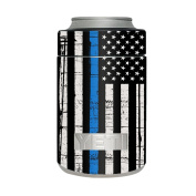 Skin Decal Vinyl Wrap for Yeti Colster Can Stickers Skins Cover / Thin Blue Line Blue Lives Matter Subdued Distressed American Flag U.S. Police