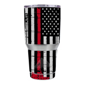 Skin Decal Vinyl Wrap for Ozark Trail 890ml Tumbler Skins Stickers Cover / Thin Red Line Subdued Distressed American Flag U.S. Fire Axe Courage Firefighter EMT