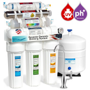 Express Water 11 Stage UV Ultraviolet + Alkaline + Reverse Osmosis Home Drinking Water Filtration System 100 GPD RO Membrane Filter - Deluxe Faucet - Pressure Gauge