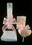 Baptism Its a Girl, Baby Pink Set, Hand Decorated Candle and Rosary With Book And Shell . Vela para Bautizo de Nina. by Party Supplies