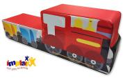 Implay® Soft Play Children's Train Ride-On Soft Play Activity Toy - 550gsm PVC / High Density Foam - Red & Black Digital Design - 100cm x 25cm x 34cm
