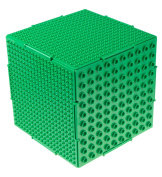 THE CUBE by Strictly Briks- Brick Building Set and Storage Container - 6 Interconnecting Double Sided Large and Small Peg Plates - 17cm x 17cm x 17cm Green - Compatible With All Major Brands - Patent Pending