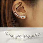 Cabet 7 Crystals Ear Cuffs Hoop Climber Sterling Silver Earrings Hypoallergenic Earring