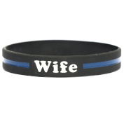 Wife Thin Blue Line Silicone Wristband Bracelets Police Officers Patrol Awareness Support