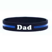 Dad Thin Blue Line Silicone Wristband Bracelets Police Officers Patrol Awareness Support