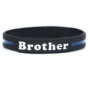 Brother Thin Blue Line Silicone Wristband Bracelets Police Officers Patrol Awareness Support