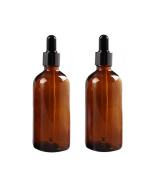 2PCS 100ml 3.4oz Empty Refillable Amber Glass Essential Oil Bottle Vial Container with Glass Eye Dropper