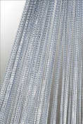 String Curtain with Lurex by 250 cm or 140 x 250 cm Assorted Colours Door Curtain #253, Polyester, silver, 90 x 250 cm