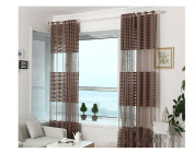 Yiyida Room Window Divider Voile Sheer Curtains with Stripe Design Scarf Net Panels 2pcs 2m x 2.7m ,Light Coffee