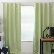 Yiyida Pair of Foil Stars Blackout Room Darkening Pencil Pleat Microfiber Curtains Thermal Insulated for Kid's Room 2m x 2.7m