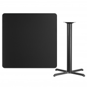 Flash Furniture 110cm Square Black Laminate Table Top with 80cm x 80cm Bar Height Table Base [XU-BLKTB-4242-T3333B-GG]