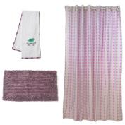 Pam Grace Creations Lovebird Bath Set, Lavender/Grey
