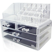 Ikee Design® 2 Piece Stackable Acrylic Cosmetic Makeup Organiser with 4 Drawers and a 12 Lipstick Compartment