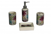 Indecor Home 4-Piece Ceramic Multi Animal Skins Bath Set