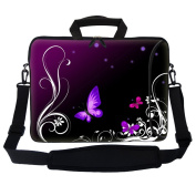 Meffort Inc 17 44cm Neoprene Laptop Bag Sleeve with Extra Side Pocket, Soft Carrying Handle & Removable Shoulder Strap for 41cm - 44cm Size Notebook Computer - Purple Butterfly Swirl
