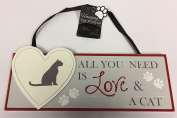 3D Hanging Pet Plaque Wall Sign - All You Need Is Love And A Cat