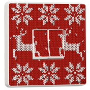 Christmas Red Knit Design Double Light Switch Cover Skin Sticker