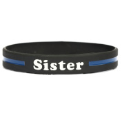 Sister Thin Blue Line Silicone Wristband Bracelets Police Officers Patrol Awareness Support